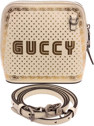 Gucci Limited Edition White & Gold Leather Sega Moon & Stars Bag