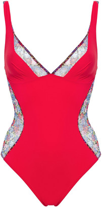 Stella McCartney Floral-print Mesh-paneled Swimsuit