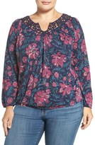 Lucky Brand Plus Size Women's 'Katie' Lace Yoke Floral Print Peasant Top