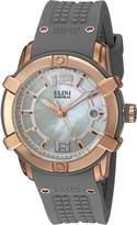Elini Barokas Women's 'Spirit' Swiss Quartz Stainless Steel and Silicone Automatic Watch, Grey (Model: 20005-RG-02-GRYS)