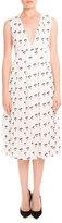 Victoria Beckham Sleeveless Pleated Daisy-Print Midi Dress