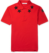 Givenchy Cuban-Fit Star-Appliquéd Cotton-Pique Polo Shirt
