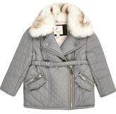 River Island Mini girls grey faux fur padded jacket