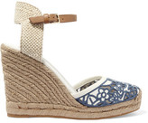 Tory Burch Lucia Leather And Canvas Wedge Espadrilles
