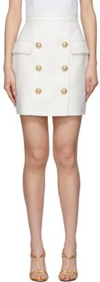 Balmain White High-Waist 6-Button Miniskirt