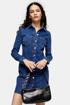 Topshop Stretch Denim Button Down Shirt Dress