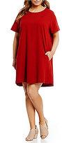Eileen Fisher Plus Round Neck Short Sleeve Dress