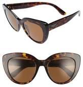 Women's Dolce&gabbana 53Mm Polarized Cat Eye Sunglasses - Brown/ Havana