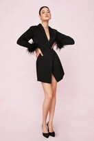 Thumbnail for your product : Nasty Gal Womens Bridal Feather Cuff Blazer Mini Dress - Black - 14