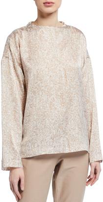 Eileen Fisher Prism Print Funnel-Neck Silk/Organic Cotton Box Top