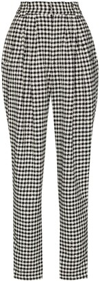 Alessandra Rich Houndstooth High-Waisted Trousers
