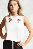 Forever 21 Rose Embroidery Muscle Tee