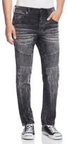 True Religion Rocco Moto Slim Fit Jeans in Onyx