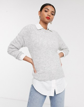And other stories & fluffy round neck sweater in gray marl