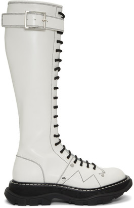 Alexander McQueen White Tread Lace-Up Tall Boots