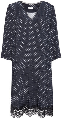 Claudie Pierlot Lace-trimmed Polka-dot Crepe Dress