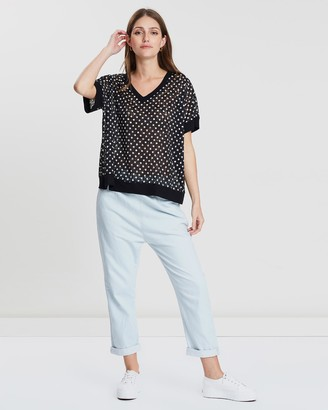Lincoln St Rib Detail Lace Top