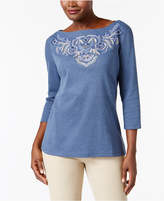 Karen Scott Petite Embroidered Boat-Neck Top, Created for Macy's