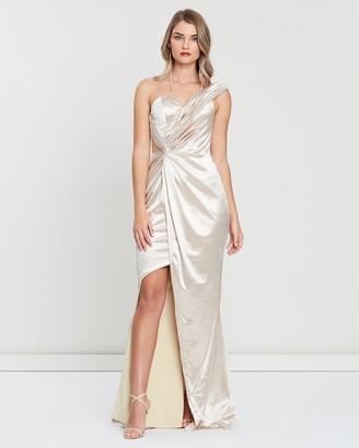 Bariano Eva Asymmetric Liquid Draped Gown