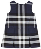 Burberry Dawny Sleeveless Pleated Check Dress, Navy, Size 4-14
