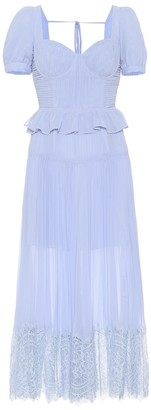 Self-Portrait Lace-trimmed chiffon midi dress