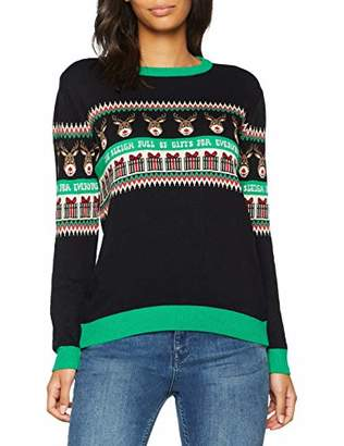 British Christmas Jumpers Full of Gifts Womens Christmas Jumper Black, (Size: S)