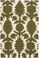 Rugs Flock Dhurrie in Green and Cream
