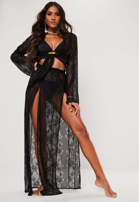 Missguided Black Lace Maxi Skirt