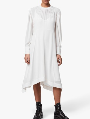 AllSaints Fayre Midi Dress, Chalk White