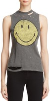Daydreamer Smiley Face Distressed Muscle Tank
