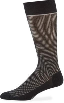 Marcoliani Milano Men's Micro-Check Cotton Socks