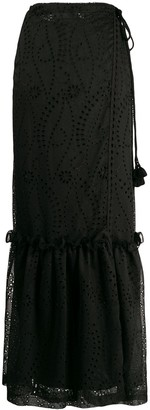 Pinko High-Waist Eyelet Maxi Skirt