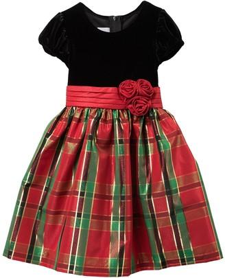 Iris & Ivy Velvet Bodice Christmas Plaid Dress (Toddler Girls)