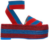 Stella McCartney striped raffia flatform sandals - women - Cotton/Artificial Leather/rubber - 35