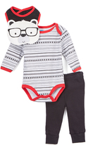 Bon Bebe Red & Black Stripe Bodysuit Set
