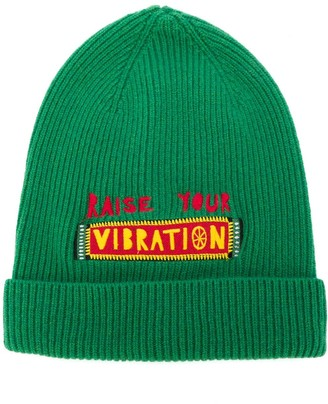 La DoubleJ Vibration embroidered slogan beanie