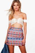 boohoo Petite Jessica Embroidered A-Line Mini Skirt multi