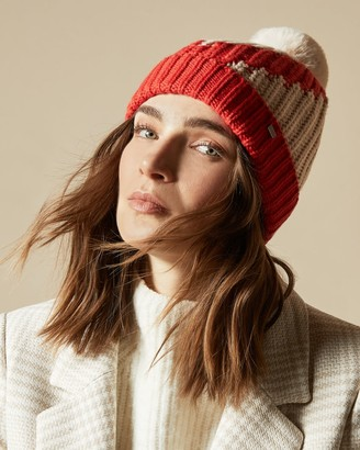 Ted Baker Stripe Detail Knitted Pom Pom Hat