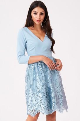 Little Mistress Clarita Blue Embroidery Prom Dress