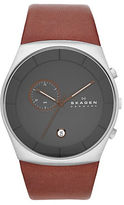 Skagen Mens Silvertone and Leather Chronograph Watch