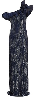 Teri Jon by Rickie Freeman Flower Taffeta Ruffle Sequin Column Gown