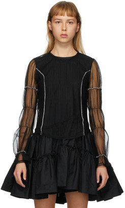 Renli Su Black Sheer Mesh Puffy Sleeves Blouse