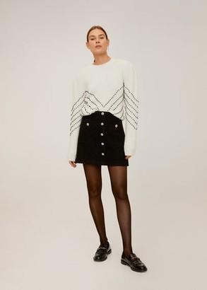 MANGO Sequin beaded sweater ecru - XS - Women