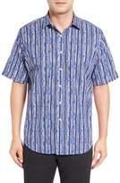 Bugatchi Men's Classic Fit Stripe Print Sport Shirt
