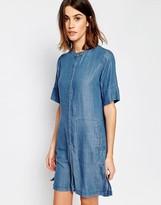 Warehouse Short Sleeve Grandad Shirt Dress