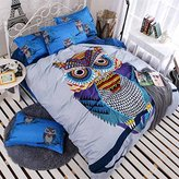 Sandyshow 2PC Owl Bedding For Boys And Girls Twin Microfiber Duvet Cover Set (Twin, Owl)