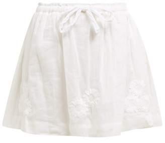 Innika Choo Flower-embroidered Ramie Mini Skirt - Womens - White