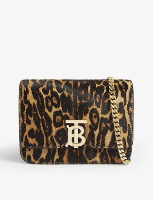 Burberry TB leopard print calf hair shoulder bag