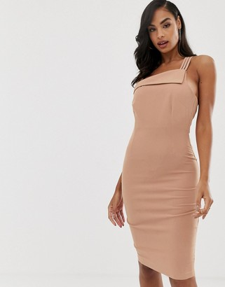 Vesper strappy one shoulder dress in macaroon