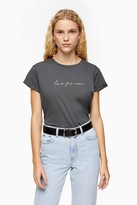 Topshop Womens Tall Live For Now T-Shirt - Charcoal
